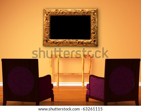 Two luxurious chairs with wooden console and modern frame in minimalist interior - stock photo