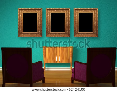 Two luxurious chairs with wooden console and picture frames in minimalist interior - stock photo