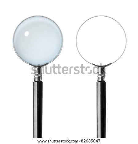 Two magnifying glasses. Isolated on white background - stock photo