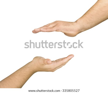 Two male cupped and opposed hands in a care gesture for something to put between those isolated  - stock photo
