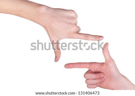 two male hands make frame shape isolated on white background - stock photo