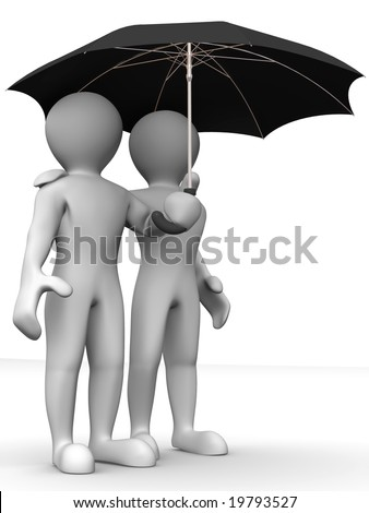 Two Man with umbrella. 3d - stock photo