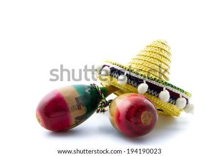 two maracas with sombrero - stock photo
