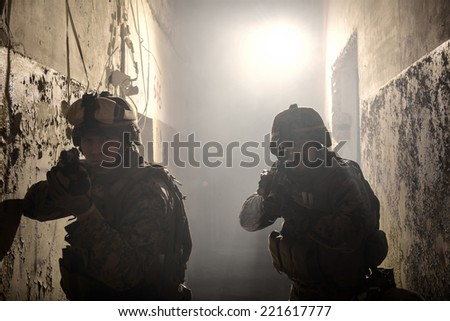Two Marines involved in the raid. Special operation to rescue the hostages. - stock photo