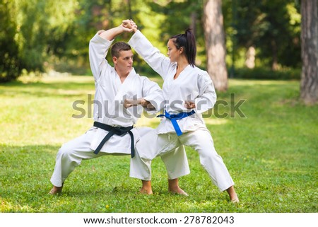 Two martial arts fighters practicing in nature - stock photo