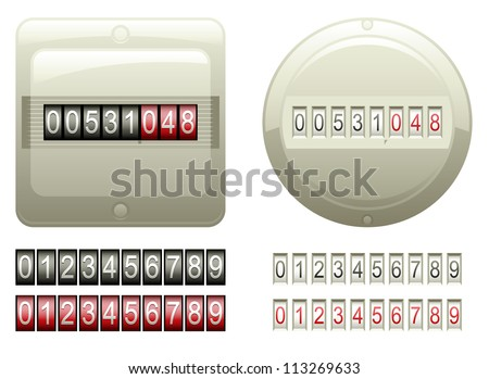 Two mechanical counters and two sets of black and red digits - stock photo