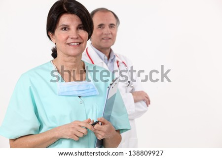 Two medical colleagues - stock photo