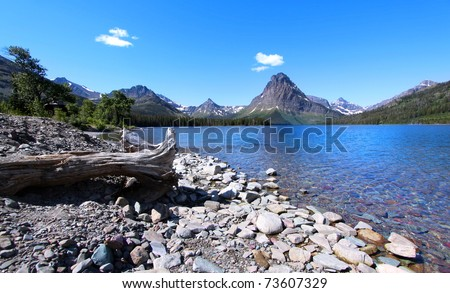 Two medicines lake scenic area in Glacier national park - stock photo