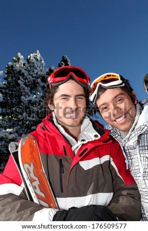 Two men about to ski - stock photo