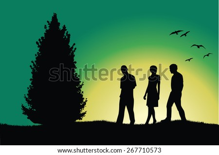 two men and girl walking on hill near tree - stock photo