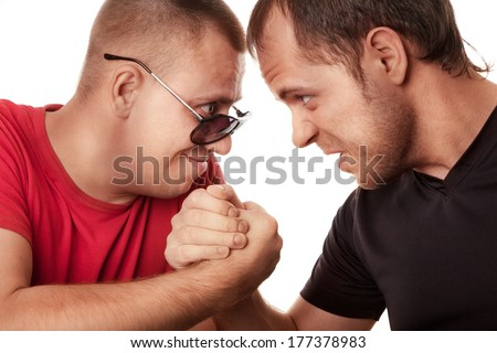 Two men angry fight. High resolution  - stock photo