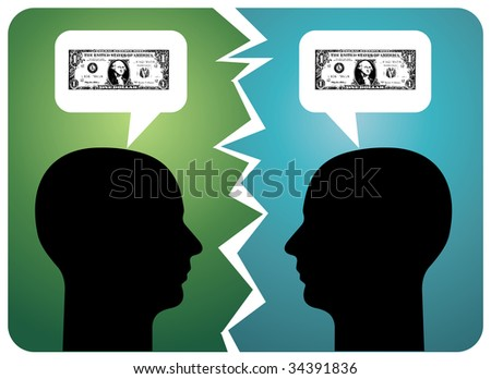 Two men arguing about money. - stock photo