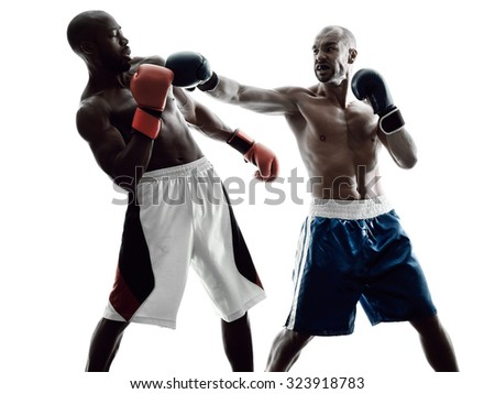 two men boxers boxing on isolated silhouette white background - stock photo