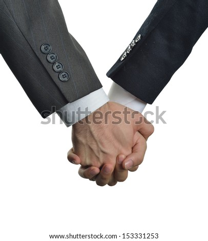 two men clasped hands in love - stock photo