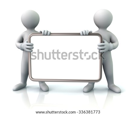 Two men holding blank signboard on white background - stock photo