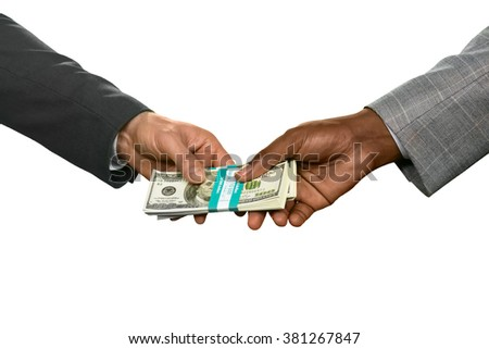Two men holding money. Buying the real estate. Boiling point. The path takes strange turns. - stock photo