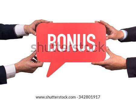 Two men holding red speech bubble with BONUS message - stock photo