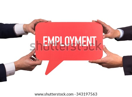 Two men holding red speech bubble with EMPLOYMENT message - stock photo