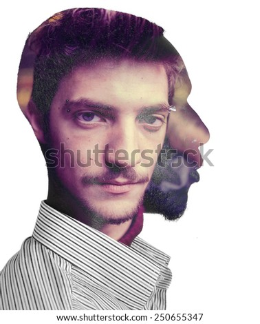 Two men in one head concept double exposure - stock photo