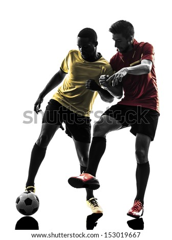 two men soccer player playing football competition in silhouette  on white background - stock photo