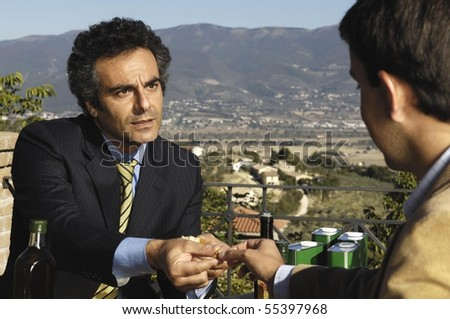two men talking - stock photo