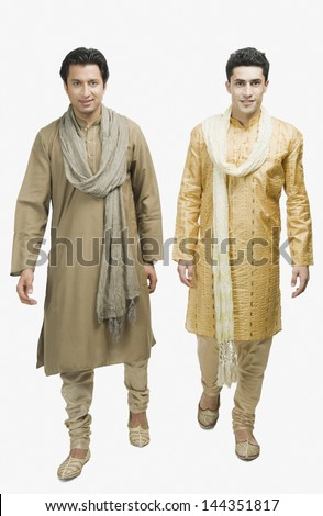 Two men walking together - stock photo
