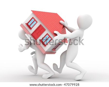 Two men with house. 3d - stock photo