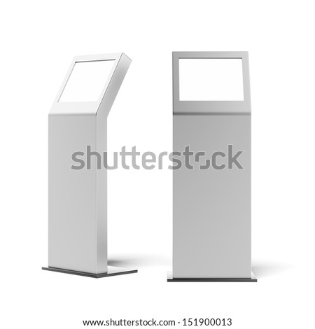 two metal advertising stands - stock photo