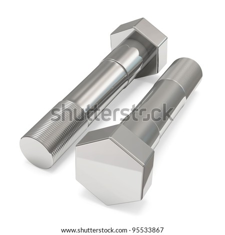 Two Metal Bolts on white background - stock photo
