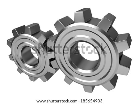 Two metal gears isolated on white background - stock photo