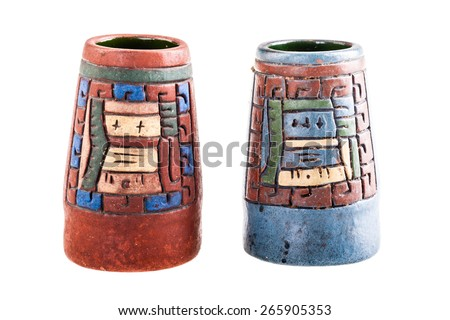 two mexican inca vase isolated over a white background - stock photo
