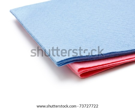 two microfiber dusters isolated on white background - stock photo
