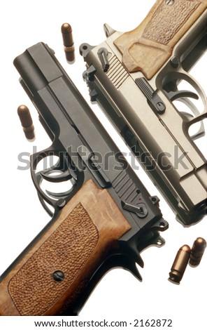 two 9 mm handguns - stock photo