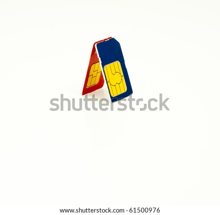 Two mobile phone SIM cards isolated on white - stock photo