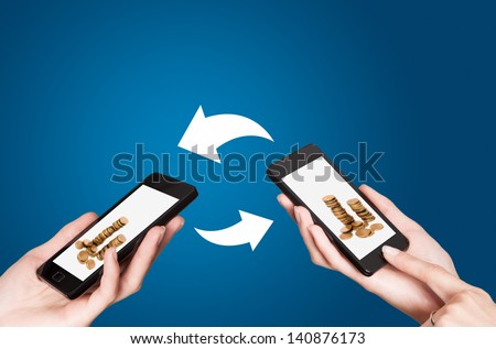 Two mobile phones with NFC payment technology. Near field communication - stock photo
