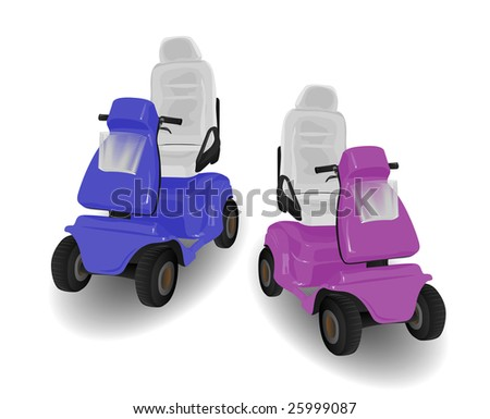 Two Mobility Scooter Illustrations Pink and Blue on White - stock photo