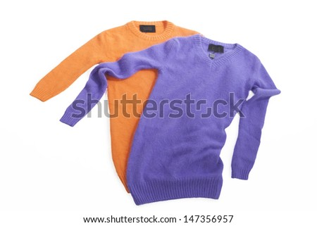 two mohair sweaters  isolated on the white - stock photo