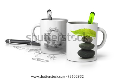 two mugs one withe a paper bullet and the second one with a pebble pile and a green leaf at the top, conceptual image symbol of stressed and serene executive. white background - stock photo