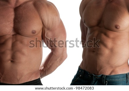 Two muscular male torso of bodybuilder on white background - stock photo