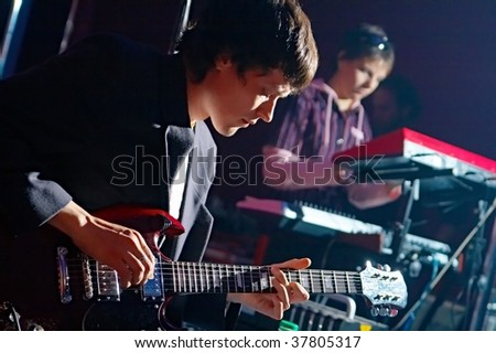 two music performers on scene - stock photo