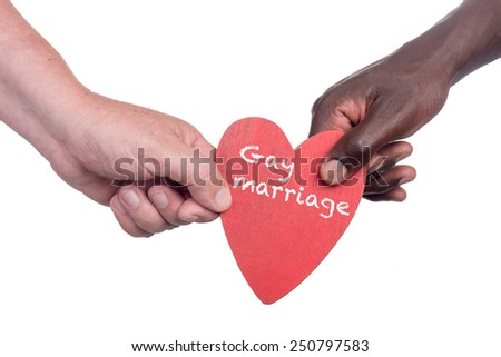 Two muti racial men holding a gay marriage wooden heart - stock photo