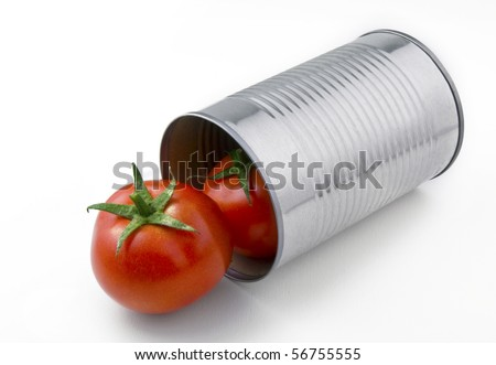 Two natural tomatoes popping out of an aluminum can. - stock photo