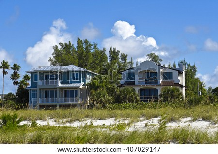 Two New Beach Houses in the final stages of completion.   - stock photo