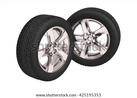Two new car tires  on white background.  3d illustration - stock photo