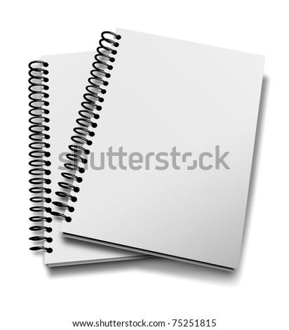 Two notebooks isolated over white - stock photo