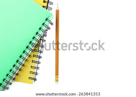 two notepad and pencil isolated - stock photo