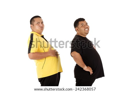 Two obesity man with big belly - stock photo