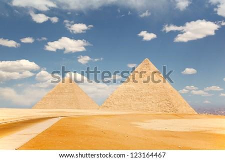 Two of the pyramids of Giza, just outside Cairo, Egypt - stock photo