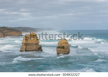 Two of Twelve Apostles at the Great Ocean Road Tour, Port Campbell National Park, Victoria, Australia. - stock photo