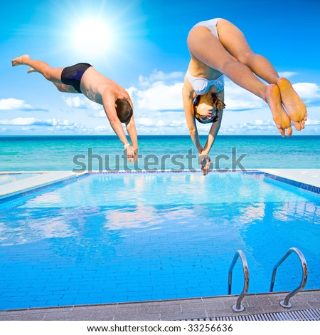Two of us diving - stock photo
